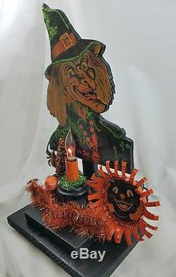 Vintage Happy Halloween Witch Lighted Display Beistle Black Cat Made in USA
