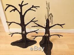 Vintage Lot 2 POTTERY BARN BLACK METAL 3d FOLDING TREES TABLE HALLOWEEN DECOR
