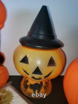 Vintage Mixed Lot Halloween Light Up Blow Mold Witch Pumpkin Tablecloth Napkins
