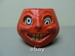 Vintage Papier Mache JACK-O-LANTERN, Pumpkin Candy Container, c. 1930's-50's