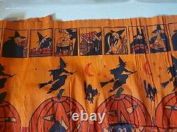 Vintage RARE Crepe/Paper Halloween pumpkin cat Witch Panel 1950's 6ft x 20
