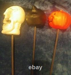 Vintage Skeleton Head, Cat Head & Halloween Pumpkin Blow Mold on Stick