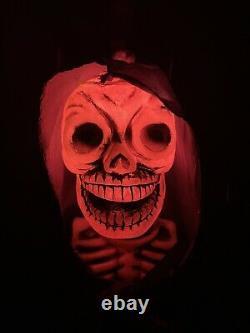 Vintage Telco Halloween GLOW HEAD Skeleton With Cape 1980s Retro RARE With Box