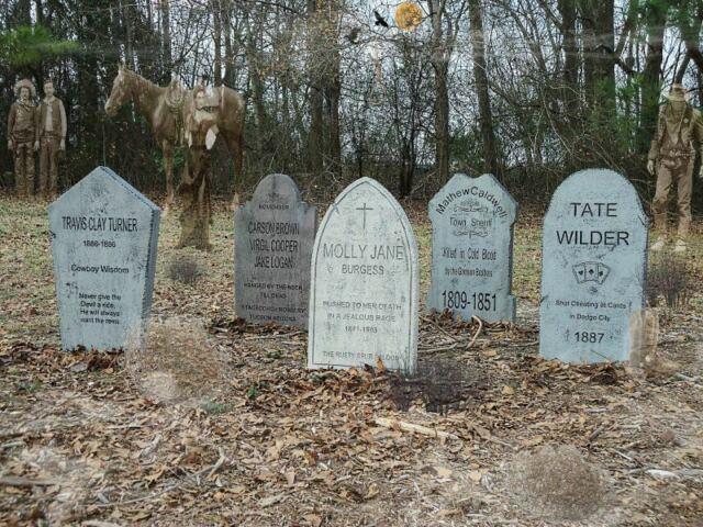 Vintage Wild West Series Tombstones Set Of 5 Halloween Props Horse Gunslingers