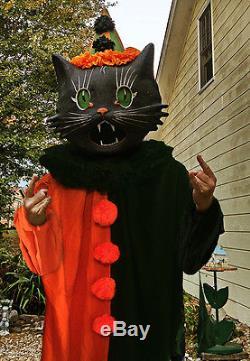 & Vintage Style Halloween Black Cat Costume u0026 Paper Mache Mask Very Cool