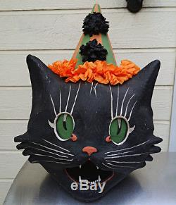 Vintage style Halloween black cat costume & paper mache mask Very cool