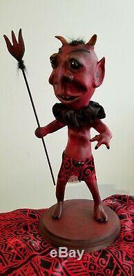 Vintage style handmade paper mache' Halloween Devil figure 16 original sculpt
