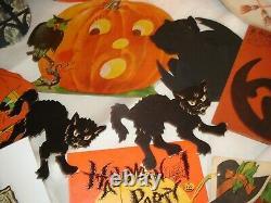 Vtg Halloween Lot Beistle winged Witch Dennison JOL cat diecut Rosen lollipop ++