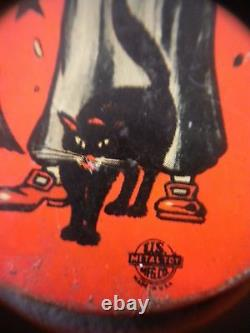 Vtg Lot 6 Halloween Tin Noisemakers, Paper Mache & Jack O' Lantern Witches, Cat