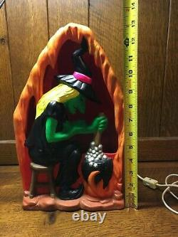 Vtg Yozie Mold Ceramic 1976 Halloween Witch Fluorescent With Light Lamp Statue
