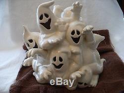 Wb- Pile Of Halloween Ghosts (could Be Lit Up! A Candle Holder) #49966