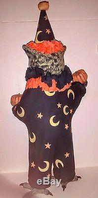 Wise Owl Sorcerer Figure Bethany Lowe Halloween Wizard Moon Stars Crepe paper NW